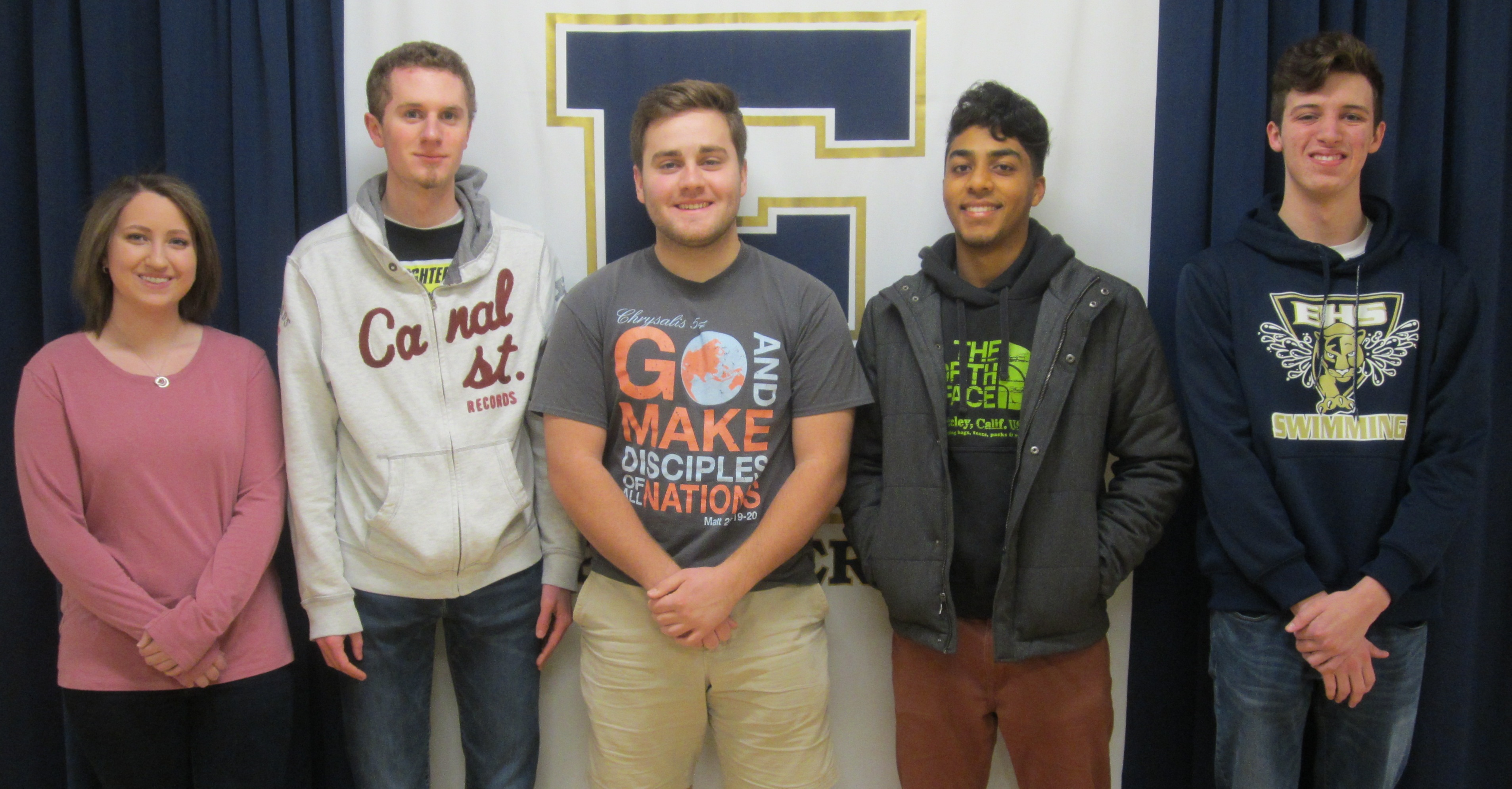 Jake Breunig, Riley Eriksen, Ameer Haider, Thomas Hutto, and Nathan Johnson, the 5 Finalist from EHS
