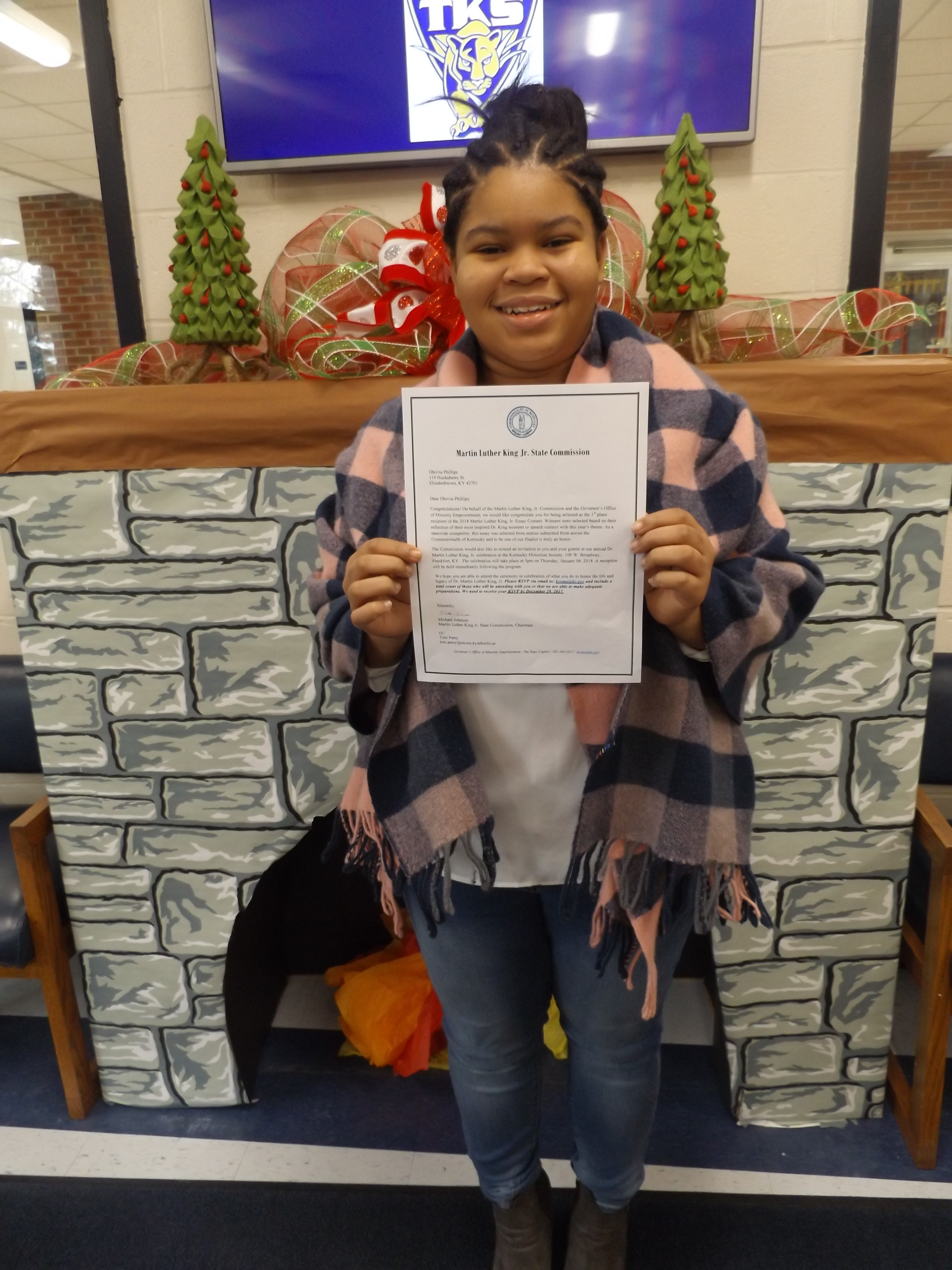 Qhovia Phillips, winner of 2018 Martin Luther King, Jr. Essay Contest